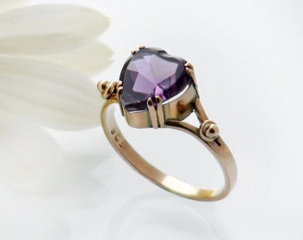 Antique Engagement Ring | Large Amethyst Heart 9ct Rose Gold | Edwardian Amethyst Ring, Love Token Ring - US Ring Size 8, UK Ring Size Q