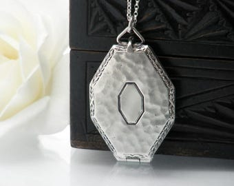 Antique Locket | Art Deco Sterling Silver Octagonal Locket Necklace | Hammered Silver Photo Locket | Love Token - 20 Inch Sterling Chain