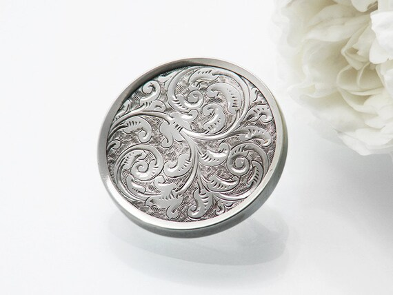 Victorian Brooch | Paisley Pattern Sterling Silver Pin | Hand Chased Antique Brooch | Shawl Pin, Lapel Pin or Bouquet Brooch - Something Old
