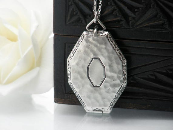 Antique Locket, Sterling Silver Art Deco Octagonal Locket Necklace | Hammered Silver Photo Locket | Love Token - 20 Inch Sterling Chain