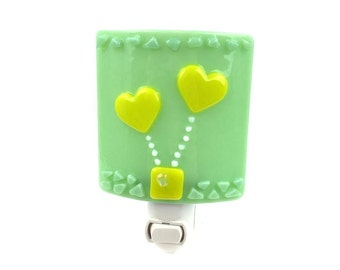 Yellow & Green Night Light, Hearts, Balloons, Babys Room Nursery Light