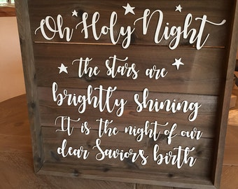 Oh Holy Night Sign - Farmhouse Christmas Decor - Wooden Sign - Christmas Decor - Rustic Christmas Wood Sign -Hostess Gift
