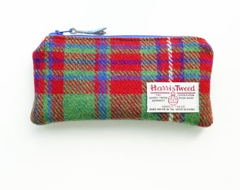 Pencil Case, HARRIS TWEED, MacKinnon tartan, zipped pouch, wool pouch,  Scottish gift