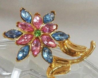 ON SALE Vintage Flower Brooch. Pink Blue. Green. Rhinestones