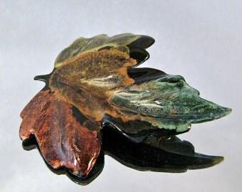 ON SALE Vintage Leaf Brooch Autumn Black Japanned