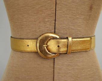 Vintage 1970's Yves Saint Laurent Belt / 70's Disco Era Glam YSL Wide Gold Lame Leather Belt
