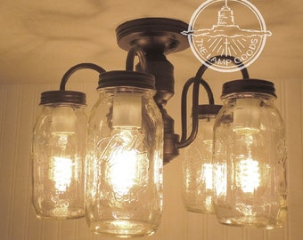 Mason Jar CEILING LIGHT 5-Light NEW Quarts - Farmhouse Flush Mount Lighting Chandelier Pendant Kitchen Lamp Track Fan Glas by LampGoods