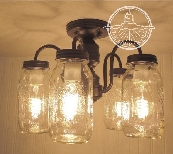 Mason Jar CEILING LIGHT 5-Light NEW Quarts Farmhouse Flush