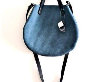 Blue turquoise leather  basket bag ,Cross-body bag, handbag