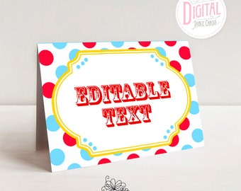 DIGITAL Circus Table Cards, Big Top Carnival Cards, Place Cards, Buffet Cards, Name Cards, Food Table Cards, PDF File with Editable Text
