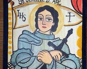 SOLD   Saint Joan of Arc, saint, santo, retablo, folk art, Marie Romero Cash