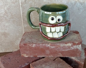 Spruce Green Coffee Cup. Happy Smiley Face Morning Mug. Unique Gift Idea. Funny Humorous Beer Tankard. Stoneware Pottery Clay Glass.