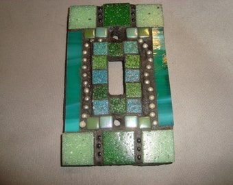 MOSAIC Light Switch Plate -  Single Switch, Wall Art, Wall Plate, Shades of Green, Turquoise