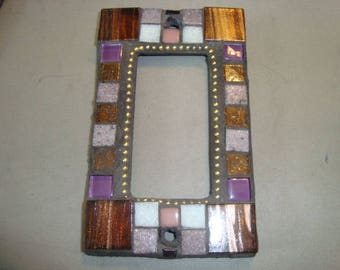 MOSAIC Outlet Cover or Switch Plate, GFI Decora, Wall Plate, Wall Art, Bronze, Purple, Lavender, Gold