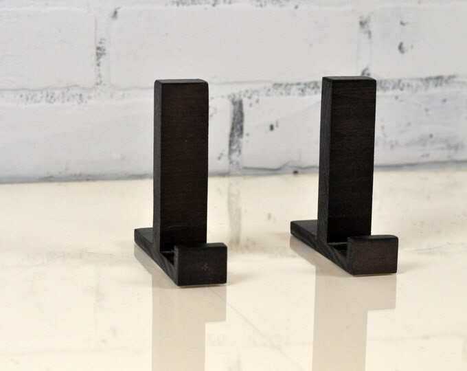 Wooden Frame Stands Set of Two - Pair of Solid Wood Frame Stands Each Set Holds One Frame - Frame Not Included - Frame Display - Solid Black