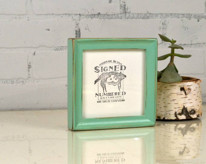 5x5 Square Photo Frame in Foxy Cove Style with Vintage Robin's Egg Finish - IN STOCK - Same Day Shipping - 5 x 5 Sale Frames Solid Hardwood