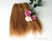 straight golden brown Wefted hair for waldorf, Blythe natural Wool Hair, Blythe Doll Reroots, tress, fabric dolls, mohair goat