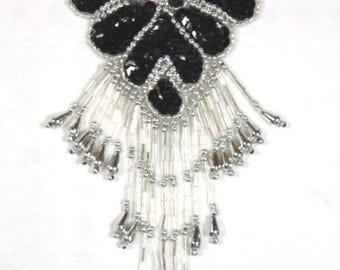 "Sequin Applique Black Silver Epaulet Shoulder Beaded Motif For Costumes and Clothing 8""  (0178-bksl)"
