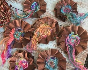 Seven Artsy, Colorful Handmade Scrap Textile Fabric Flowers, Set of Large Embellishments