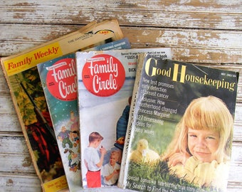 Vintage Magazines 1950s 1960s Magazines Family Circle, Good Housekeeping, Family Weekly, Lot of 4 Vintage Magazines,  Crafts, DIY, Decoupage