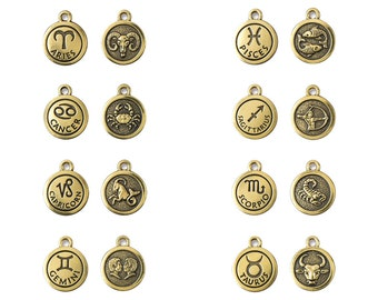TierraCast What's Your Sign Zodiac Charms - pewter with antiqued gold finish - choose from 12 astrological signs