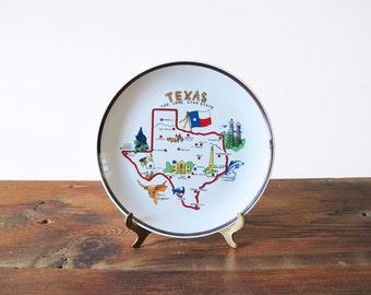 Vintage Texas Plate Souvenir Dish Lone Star State Wall Art