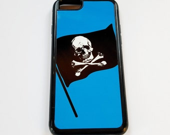 Pirate Flag on blue iPhone case fits iPhone 6 skull crossbones