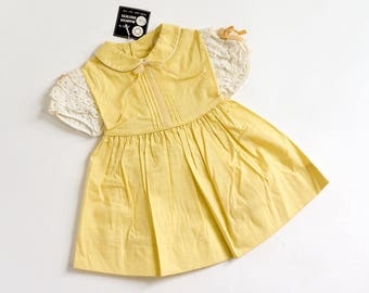"""Vintage 1960s Girls Size 18-24M One Piece Party Dress Deadstock / b24"""" L17"""" / Buttercream Yellow Cotton Eyelet Sleeves Pintuck Bodice"""