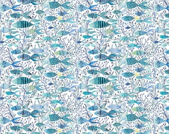 Mermaid Days Here Fishy Fish Swimming Through Kelp and Seaweed Sketched Tropical School of Fish