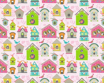 Flutter and Float Fabric Tweet Tweet Little Birds Colorful Bavarian Painted Bird Houses on Pink
