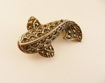 Ancient fish/shark figural sterling brooch natural sparkling Zircon & Marcasite-Fine 925 marked Design, Italian Vintage Jewelry-Art.576/4-