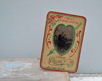 Sweetheart Photo Card . Vintage Sweetheart Card . Old Photo Card