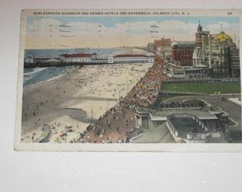 Picture Postcard Marlborough-Blenheim & Dennis Hotels and Boardwalk Atlantic City New Jersey 1932