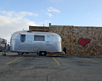 Airstream trailer photo, camper, photography, silver, vintage, retro, graffiti, tagging, red heart, Airstream art, Cyber Monday Sale, silver