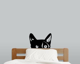 Peeping Cat - Nursery and Kid's Room Animal Wall Decals