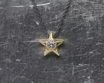 Sparkly Yellow Gold Star Moissanite Necklace 14k Silver Festive Romantic Christmas Gift Idea Stellar Cosmic Holiday Celebration - Goldstern