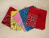 5 vintage BRIGHT American Made cotton Bandannas • colorful bandana lot
