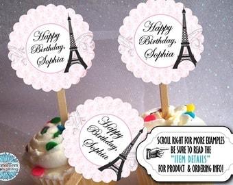 12 Cupcake Picks, Cupcake Topper Decorations, Wedding, Bridal Shower, Baby Shower, Birthday, French, Eiffel Tower, Pink, Parisienne