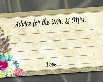 10 Mr. & Mrs. Advice Cards, Party Activity Game Cards, Bridal or Couples Shower Game, Watercolor Florals, Flowers, Gold, Fuchsia, Turquoise