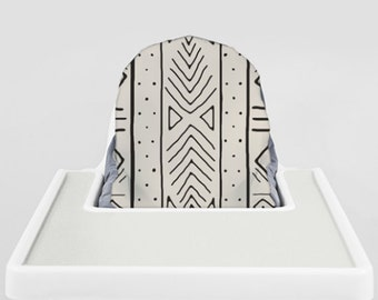 Bone Mudcloth // IKEA Antilop Highchair Cover // High Chair Cover for the PYTTIG Cushion // Pillow Slipcover