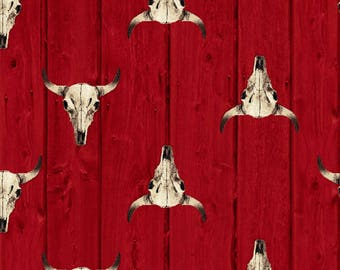 Red Longhorn Western Country Cowboy Windham Quilting Fabric Yard