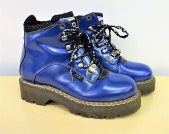 1990s Doc Martens Style Boots Club Kid Grunge Lace Up Ankle Boots Blue Leather Chunky Boots Women Hiking Boots Blue Work Boots Size 7 2073