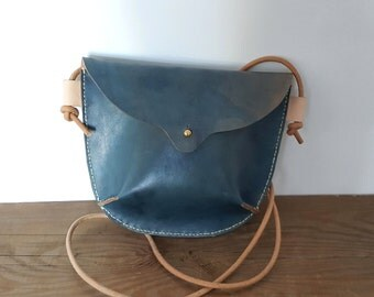 IMMEDIATE SHIP Hand Stitched Leather Small Crossbody Bag in Indigo