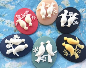 10pcs 40x30mm assorted standing birds oval resin cabochon/cameos/cabs
