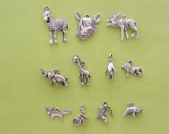 The Zoo Collection - 11 different antique silver tone charms