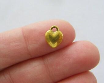 BULK 50 Heart charms antique gold tone GC117 - SALE 50% OFF
