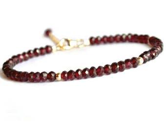 Genuine garnet bracelet, gold filled rhodolite garnet bracelet, red bracelet