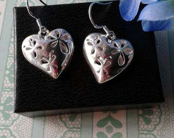 Silver Puffed Heart Earrings