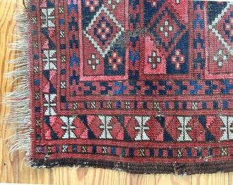 Antique Vintage Distressed Caucasian Rug