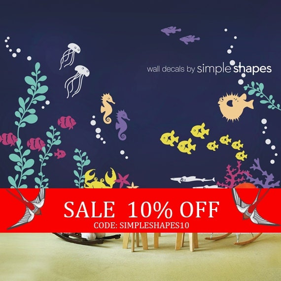 Sale - Wall Decal Kids Under the Sea Wall Decal Collection Nursery Wall Decals